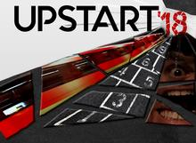 UpStart poster image of broken mirror with pieces showing a subway train, a man's eye and a hopscotch grid