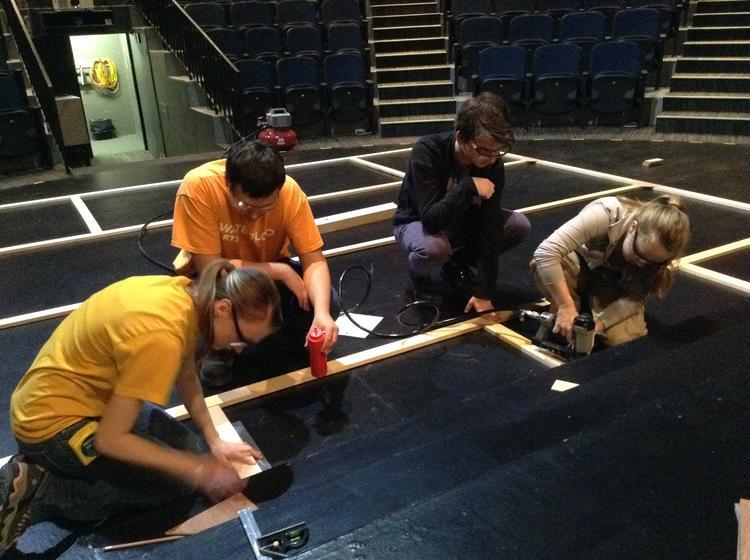 Students building a set