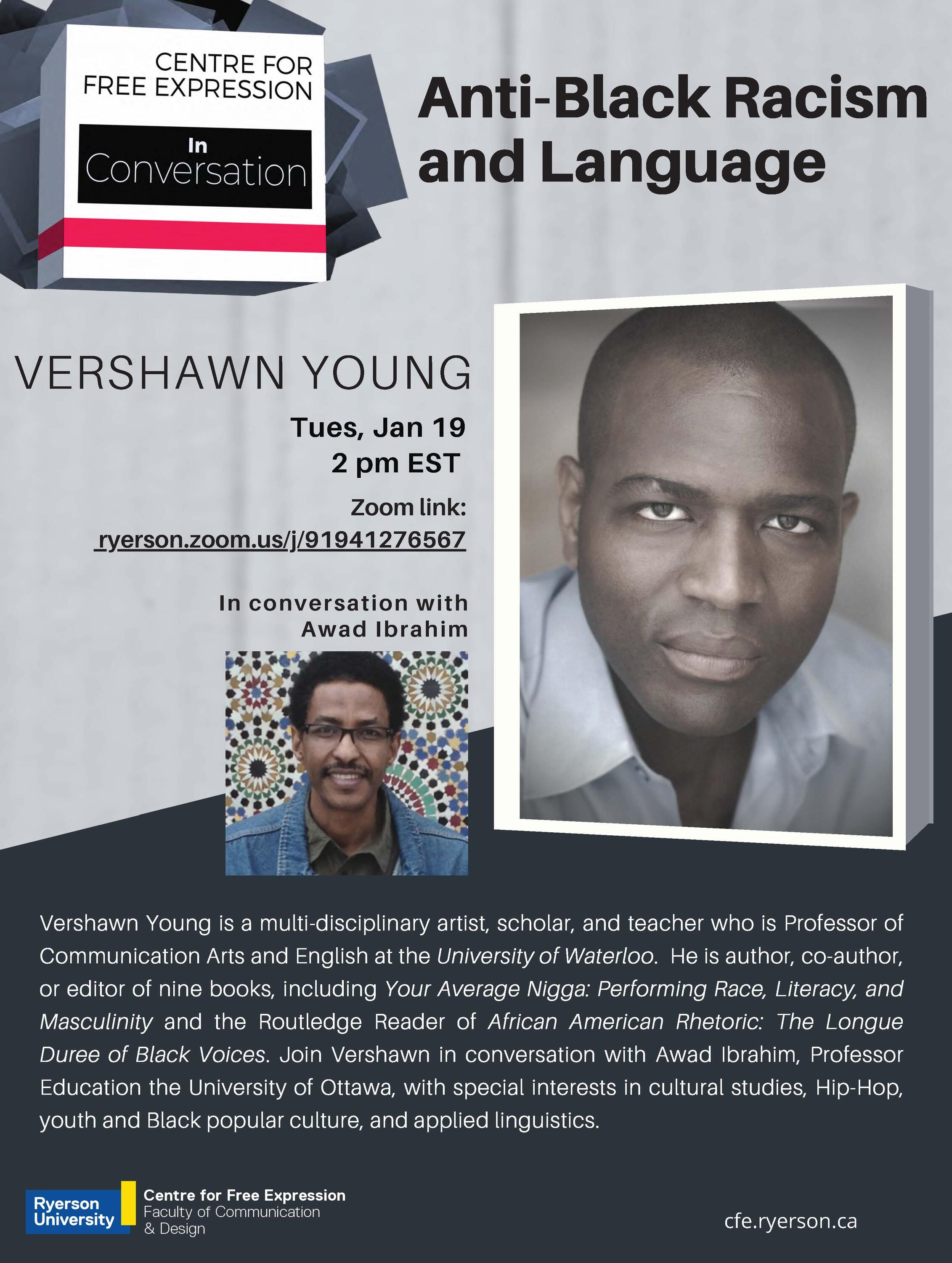 poster of anti-black racism and language event