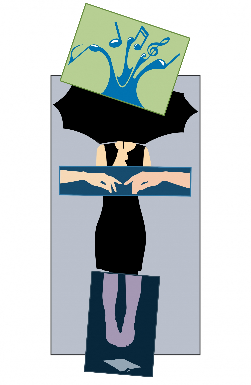 Decoupage of woman holding an umbrella