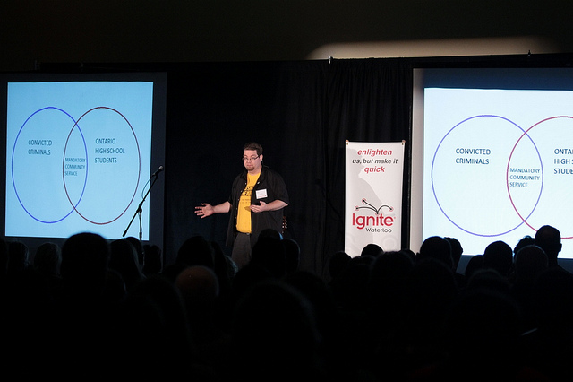 Man lecturing to an audience with 2 projector screens of information