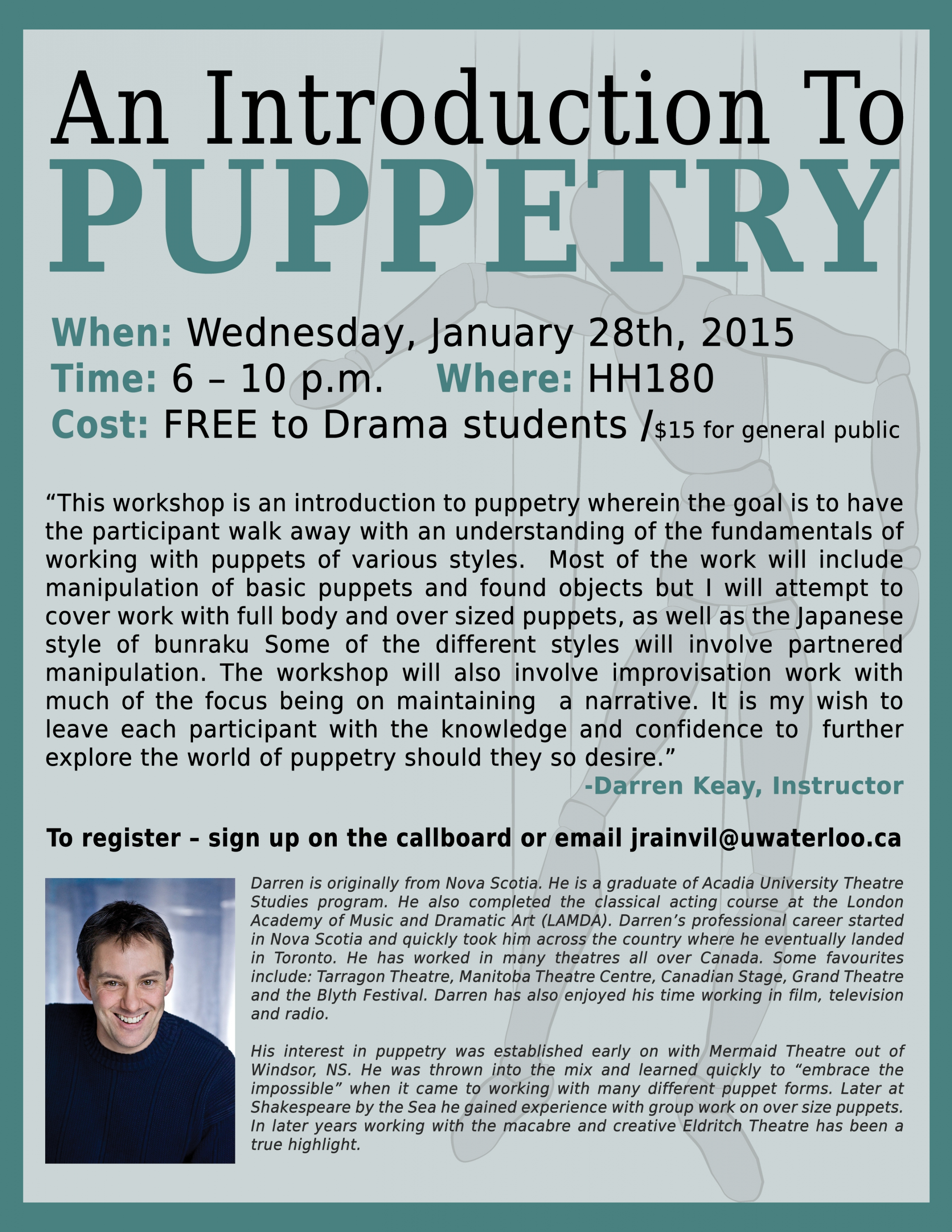 poster for puppetry workshop