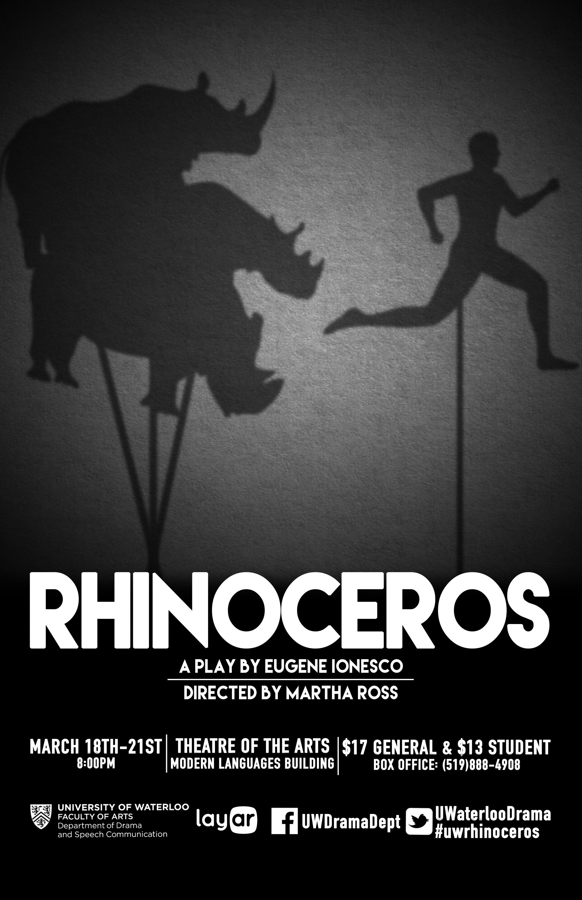 black and white poster of shadow puppet rhinoceroses chasing a man