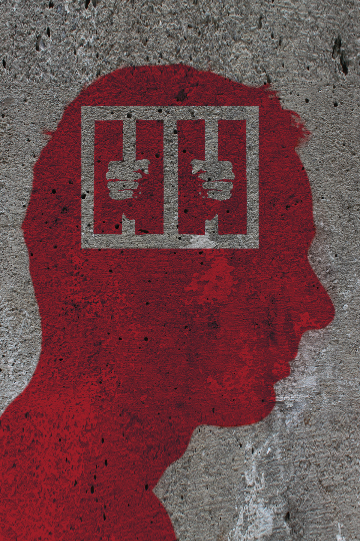 Red silhouette of a man's head with image of hands gripping cell bars