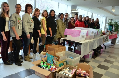 BSW students line up to celebrate clothing drive