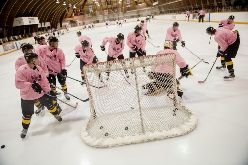 Think Pink Hockey warm up