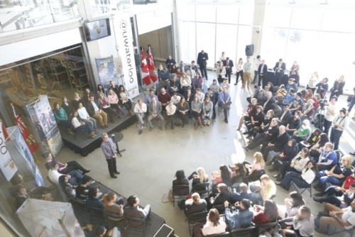 Premier Kathleen Wynne in the VeloCity Garage and Institute for Quantum Computing  at the University of Waterloo