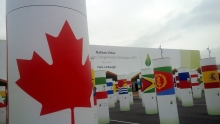 Canadian flag surrounded by other nation's flags at the United Nations Climate Change Summit.