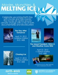 Movies, Munchies & Melting Ice film screening dates, times, and titles