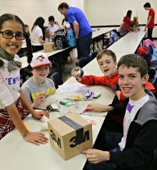 Kids having fun at the Let's Talk Science Challenge
