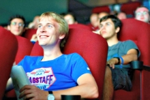 Student watching film at Princess Cinemas