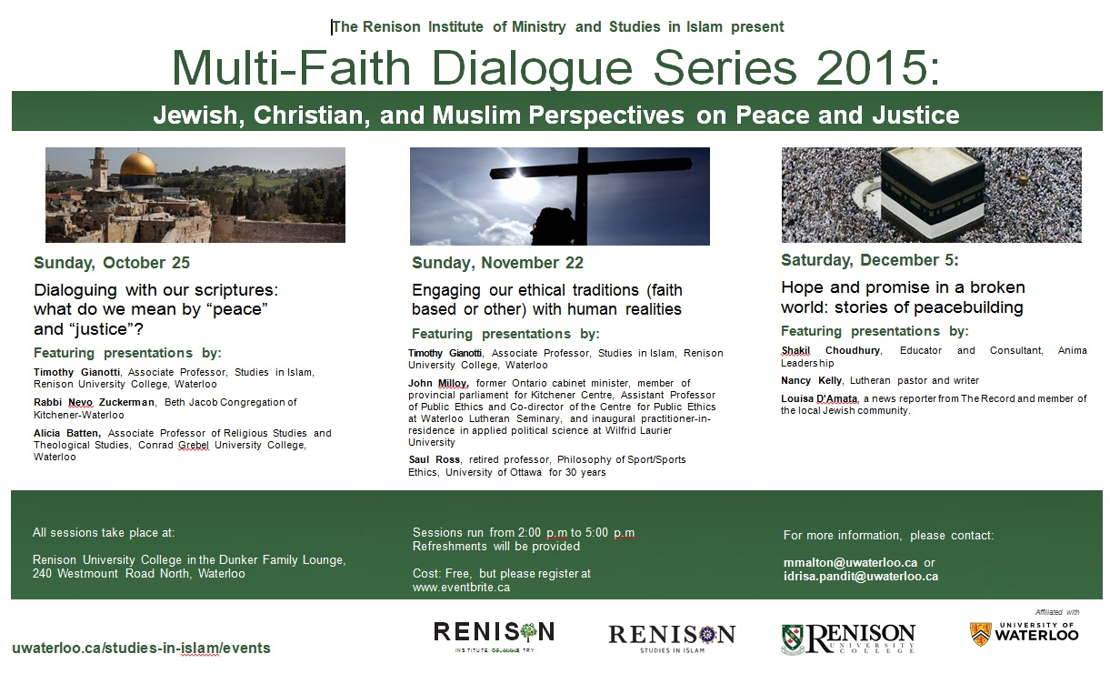 Multi-Faith Dialogue Series 2015: Jewish, Christian, and Muslim Perspectives on Peace and Justice
