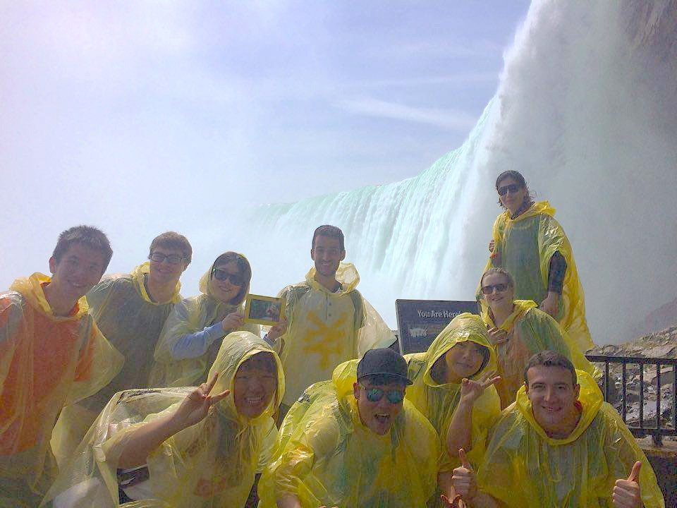 Students in front of the mist