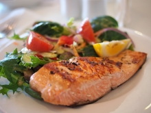 meal on a plate, salmon and salad