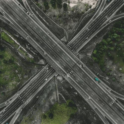 aerial view of cross roads