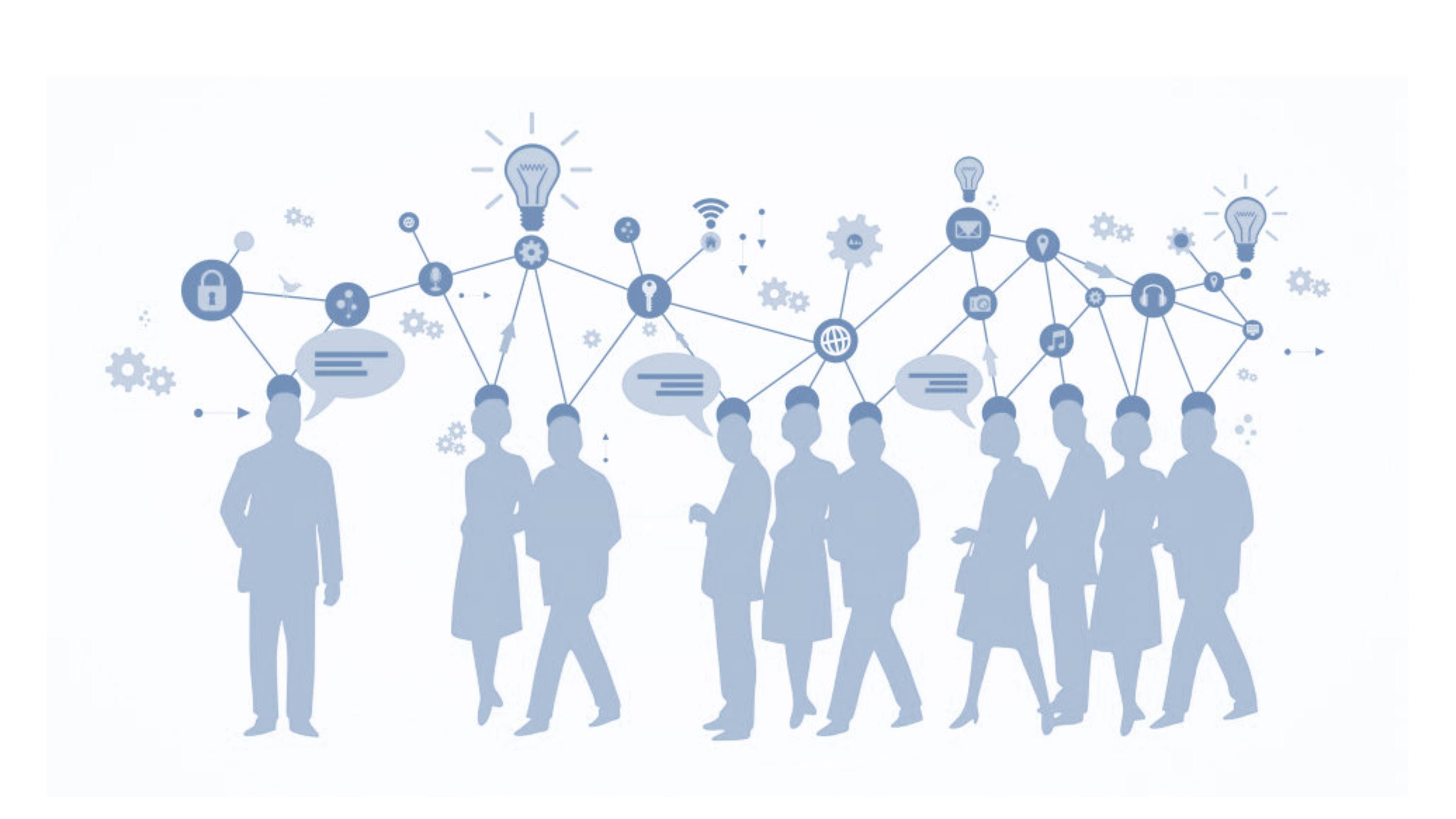 silhouettes of people networking - blue and white