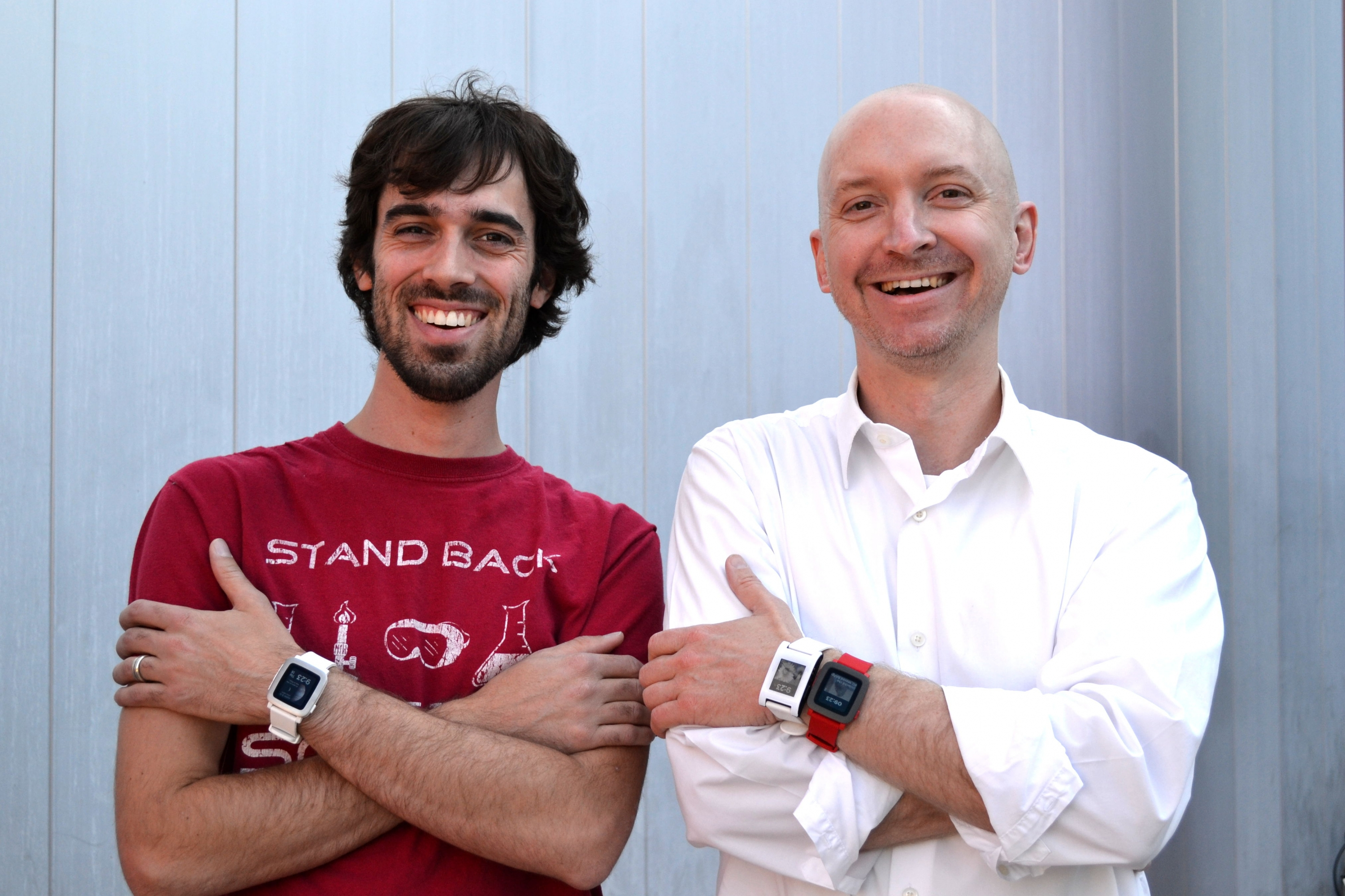 Michael Terry and Adam Fourney with Pebble smartwatches on wrists