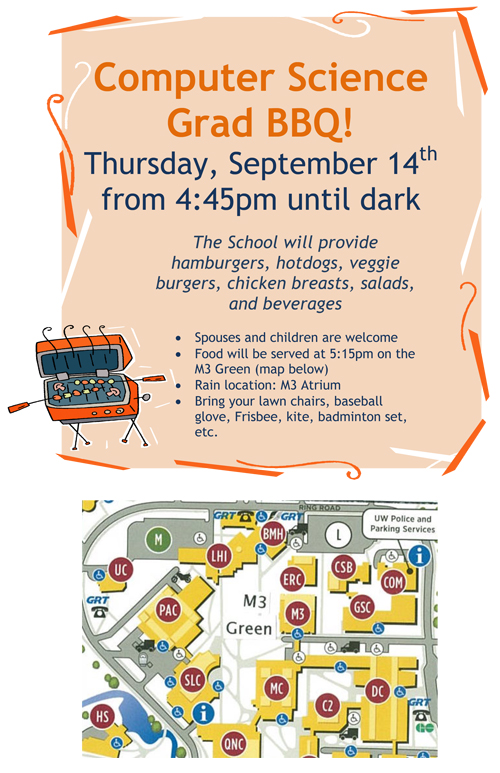 flyer of computer science's graduate student BBQ invite and map