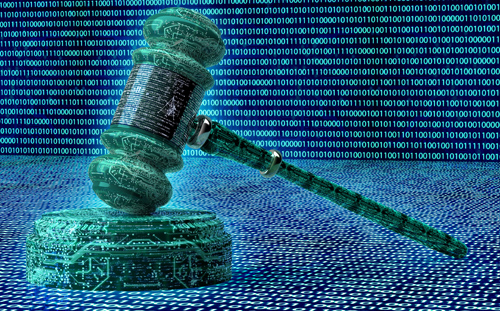 photo of digital gavel representing use of AI in law