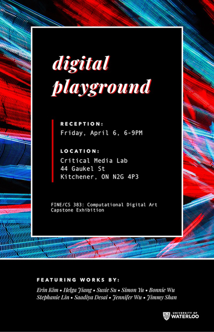 poster of the digital playground computational digital art capstone exhibition