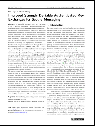 """screen grab of """"Improved Strongly Deniable Authenticated Key Exchanges for Secure Messaging"""""""