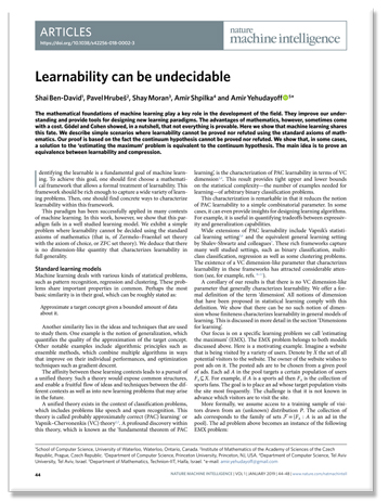 """paper titled """"Learnability can be undecidable"""""""