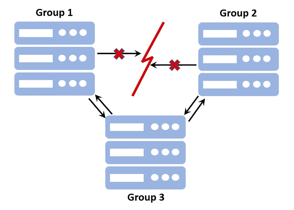 an illustration depicting a partial network partition