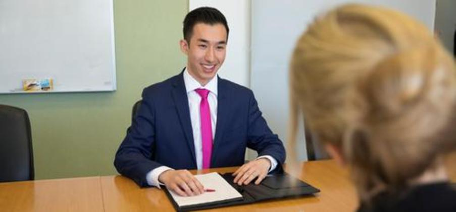 Male CFM student interviewing for a job