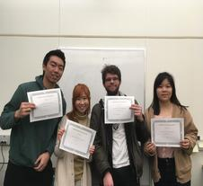 Photo of winners - Aaron, Evelyn, Anthony, and Lilian