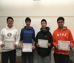 Photo of winners - Chenkai, Aymar, Allen and Andy