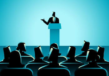 Person giving a presentation in front of audience