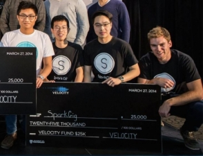 Co-founders of SparkGig with their $25,000 Velocity cheque.
