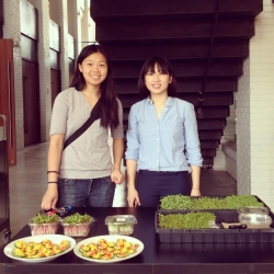 Victoria Suen and Carrie Cheng with produce