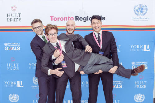 John Curticapean, Malcolm Williams, Benjamin Hudson, and Tony Qu at the Hult Prize Regional in Toronto, Canada.