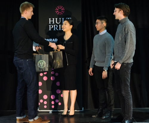 EPOCH accepts their award at the Hult Prize campus qualifier
