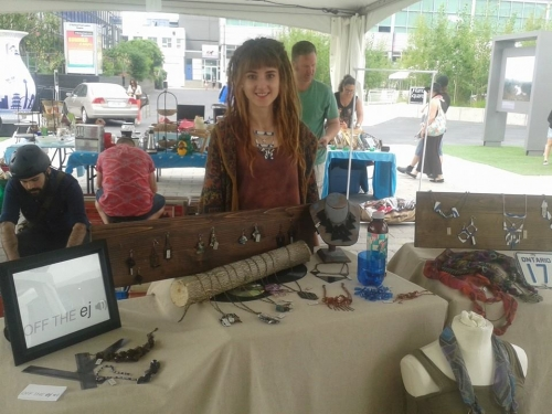 Emma Halenko selling Off the ej jewelry at the Harborfront Centre in Toronto