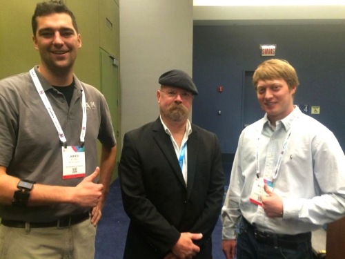 Co-founders of MAJiK, Jared and Mike, with Jamie Hyneman