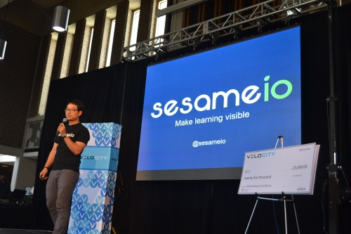 Photo of Ian pitching Sesame at the Velocity Fund Finals