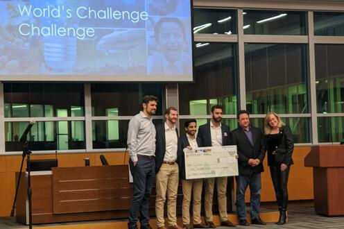 MBET students at the World's Challenge Challenge pitch competition.