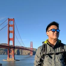 E Co-op student Danny Eng in front of the Golden Gate Bridge