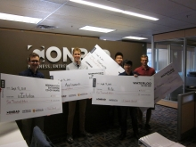 The 5 Fall 2013 award winners with their $4,000 cheques.