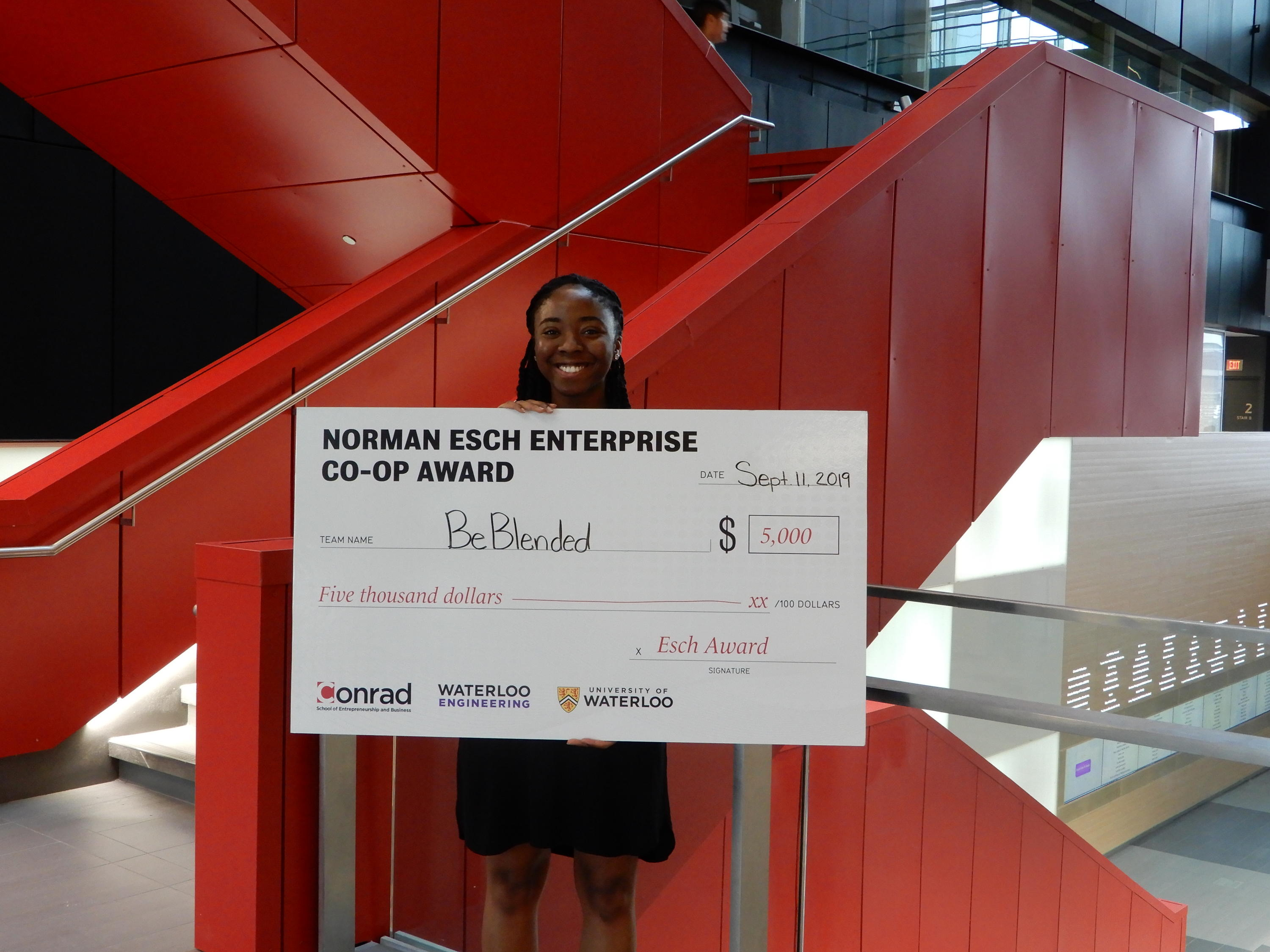 Aileen Agada, BeBlended with $5000 award cheque