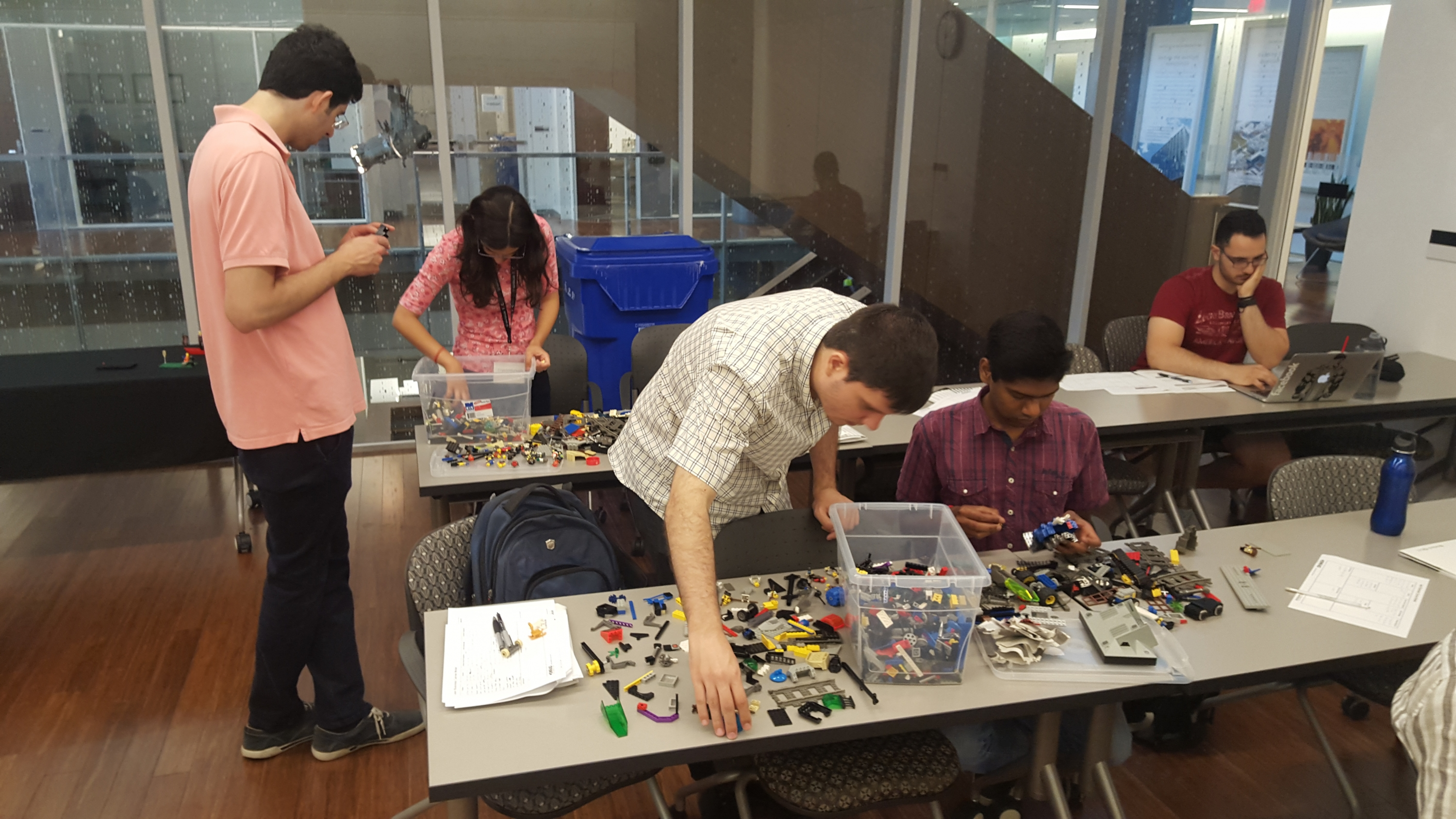 Students participate in a commercialization simulation with Lego