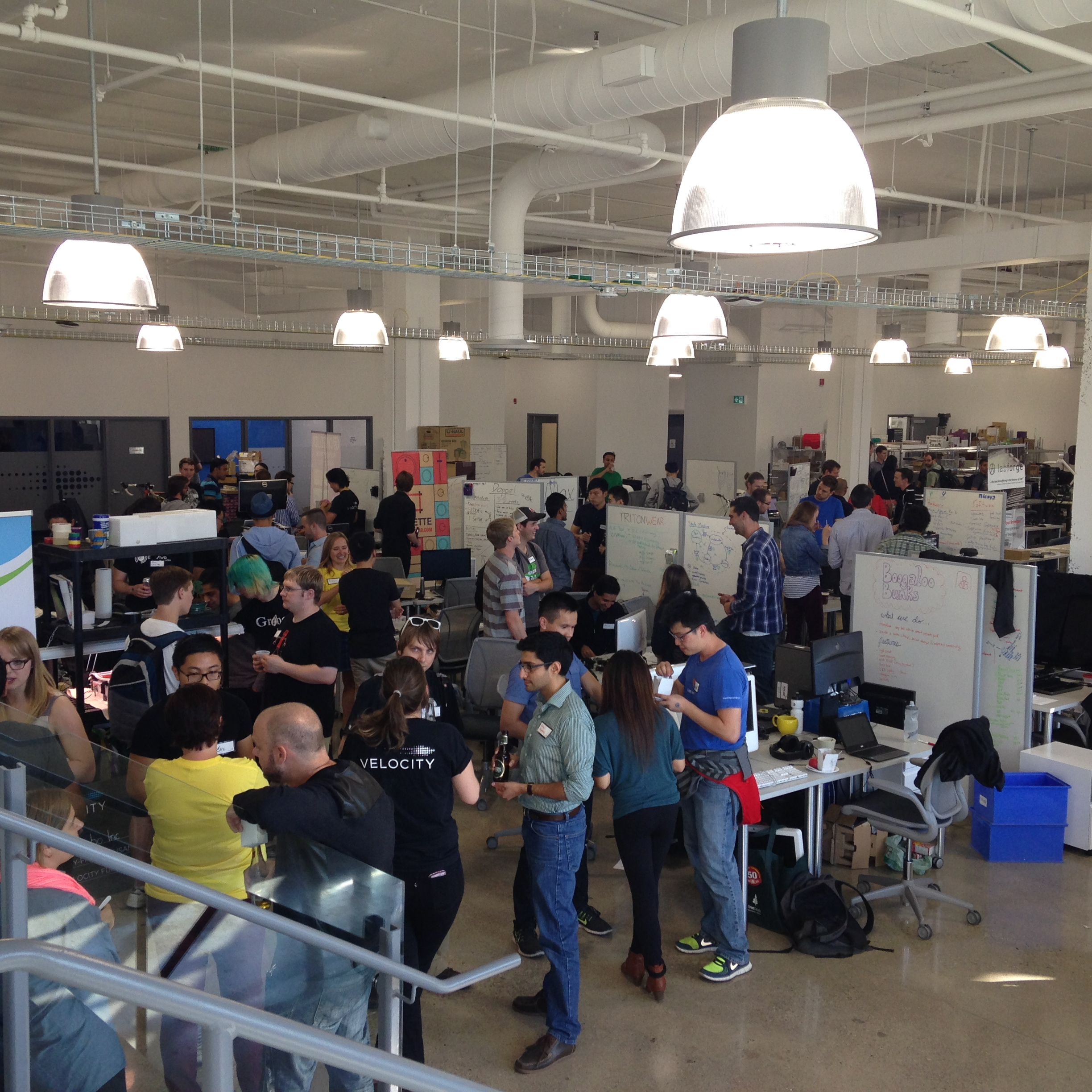 The crowd of people at the Velocity Foundry open house