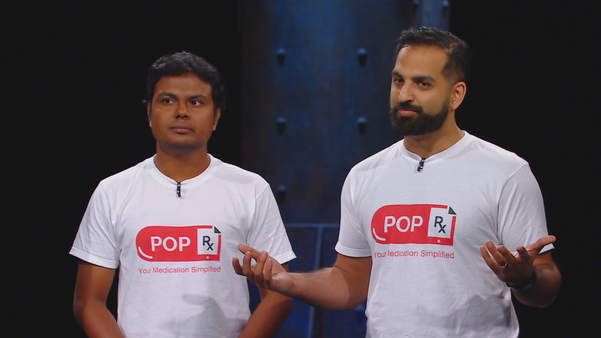 Ali and Vejey pitching their startup, PopRx, on Dragon's Den
