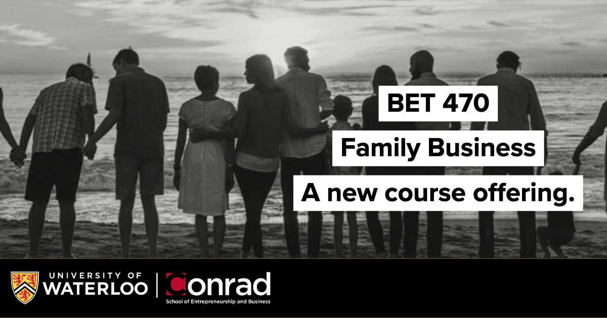 Image of a large family on a beach watching the sun rise/set. Text reads: BET 470 Family Business - a new course offering.