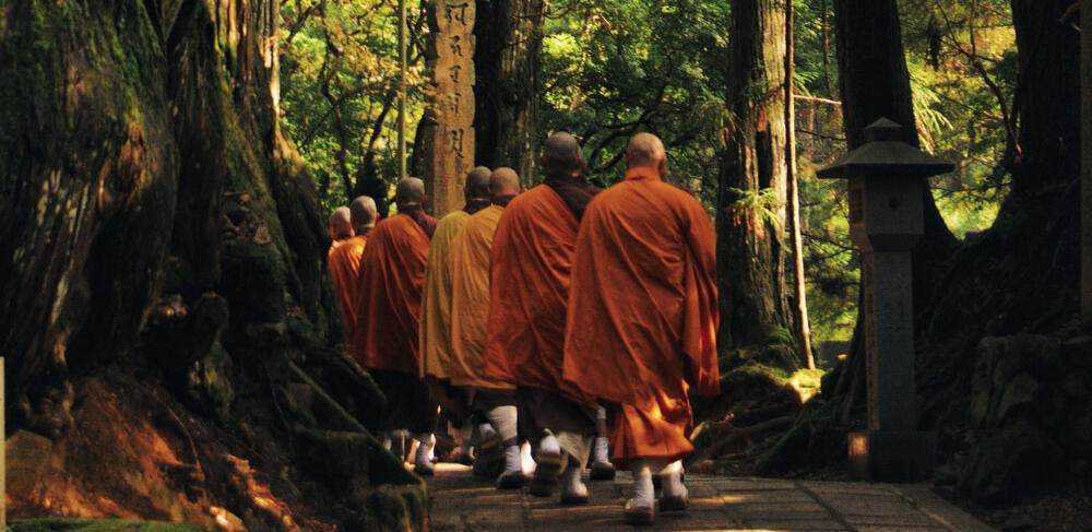Monks walking in the forest