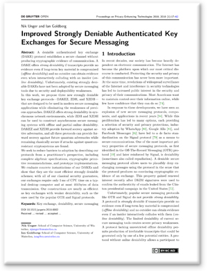 Screenshot of the paper: Improved Strongly Deniable Authenticated Key Exchanges for Secure Messaging
