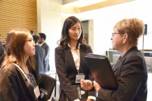 Students converse during a networking session.