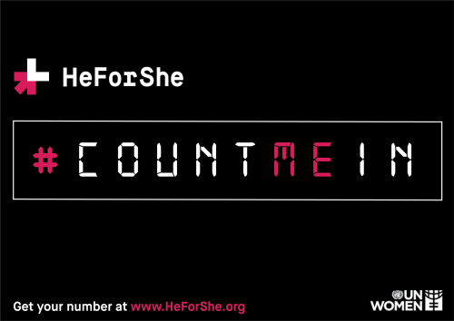 HeForShe #CountMeIn text in calculator-like font